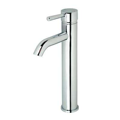 Single Hole Single-Handle Vessel Bathroom Faucet in Chrome with Pop-Up