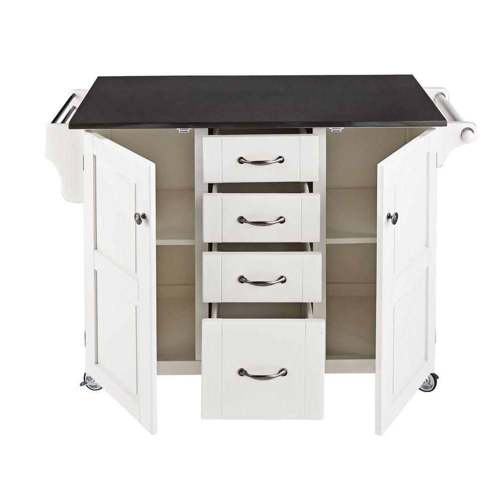 White with Natural Wood Top Kitchen Cart Island, Storage, Locking ...