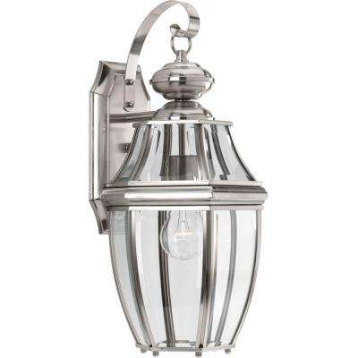 New Haven Collection 1-Light Large Outdoor Brushed Nickel Wall Lantern