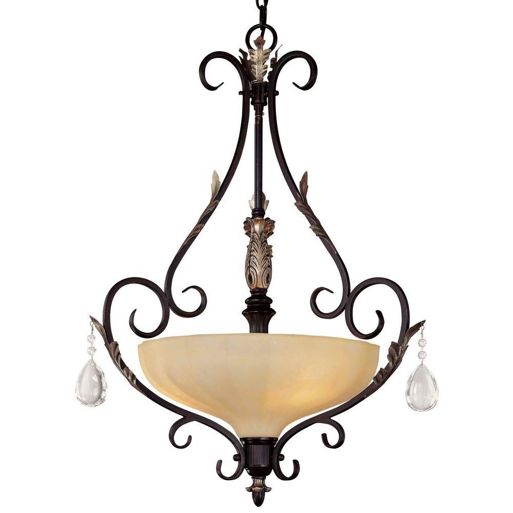 Bellasera 3-Light Castlewood Walnut Bowl Pendant