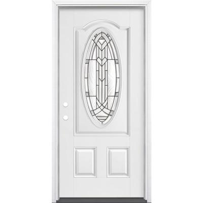 36 in. x 80 in. Chatham 3/4 Oval Primed White Right-Hand Inswing Smooth Fiberglass Prehung Front Door w/ Brickmold