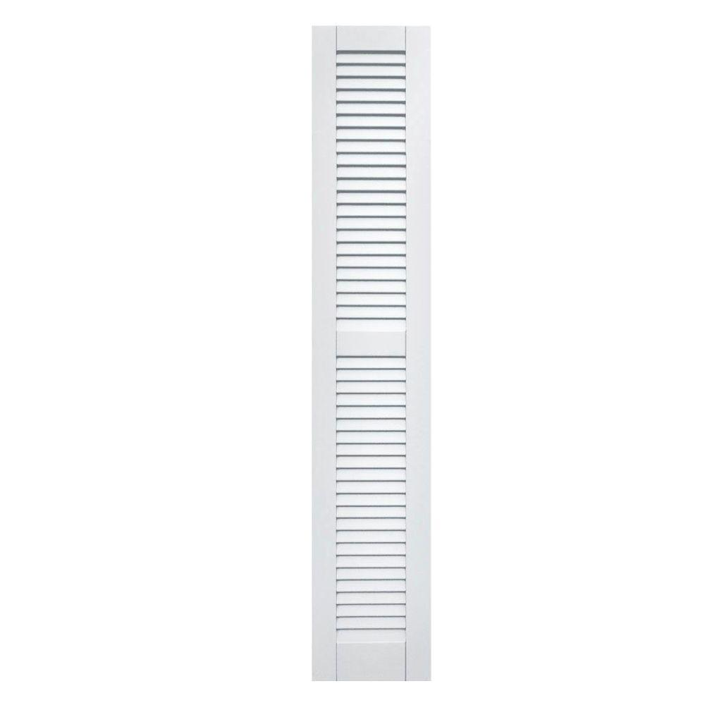 Winworks Wood Composite 12 in. x 66 in. Louvered Shutters Pair #631 White