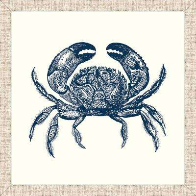 """31 in. x 31 in. """"Crab in Blue"""" Framed Giclee Print Wall Art"""