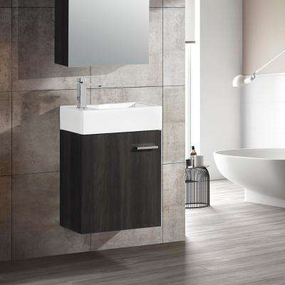 Colmer 18 in. Single, 1 Cabinet, Bathroom Vanity in Black with White Countertop with White Basin