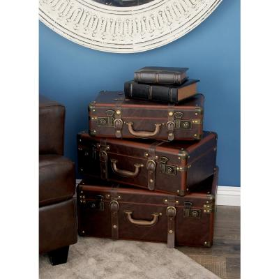 Rectangular Wooden Leather Globetrotter Boxes with Hinged Lids (Set of 3)