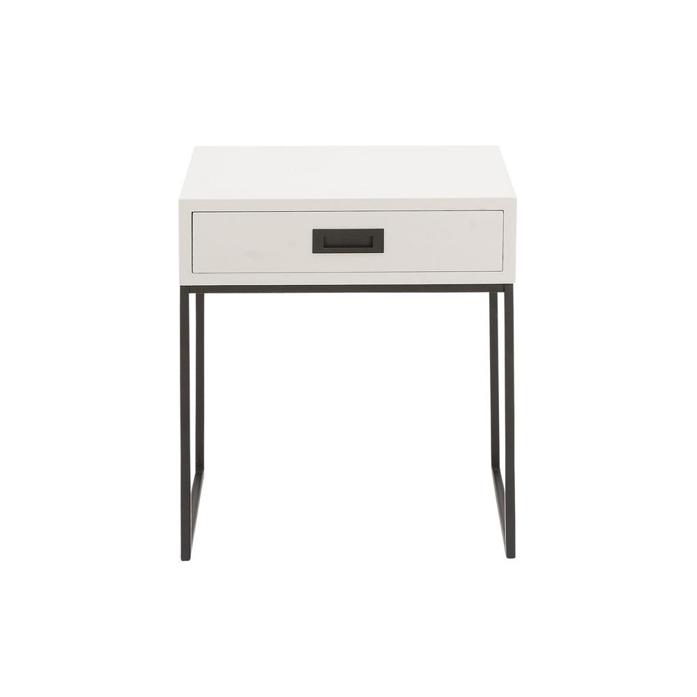 White Single Drawer Side Table