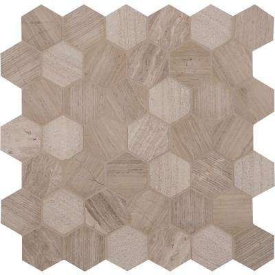 Honeycomb Hexagon 12 in. x 12 in. x 10 mm Natural Marble Mesh-Mounted Mosaic Floor and Wall Tile