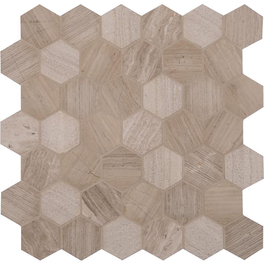 msi honeycomb hexagon 12 in x 12 in x 10mm natural marble mesh rh homedepot com Hexagon Tile Floor Hexagon Tile Floor