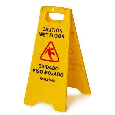 24 in. Yellow Multi-Lingual Caution Wet Floor Sign
