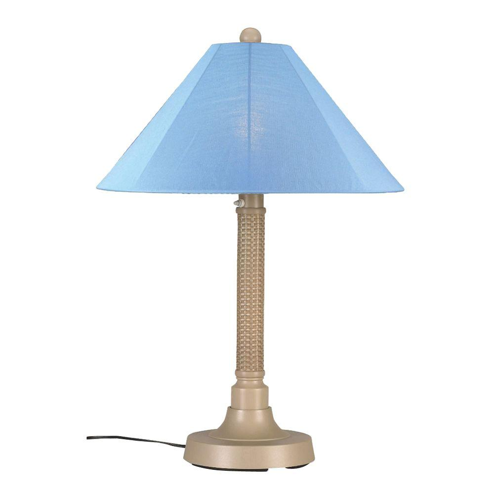Patio Living Concepts Bahama Weave 34 in. Mojavi Outdoor Table Lamp with Sky Blue Shade