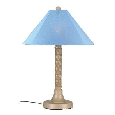 Bahama Weave 34 in. Mojavi Outdoor Table Lamp with Sky Blue Shade
