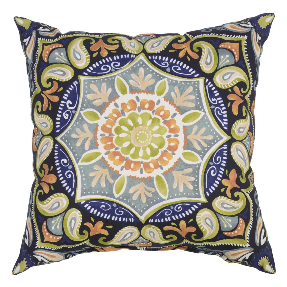 Hampton Bay Sky Medallion Square Outdoor Throw Pillow