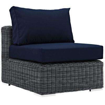 Summon Patio Wicker Sunbrella Armless Middle Outdoor Sectional Chair with Canvas Navy Cushions