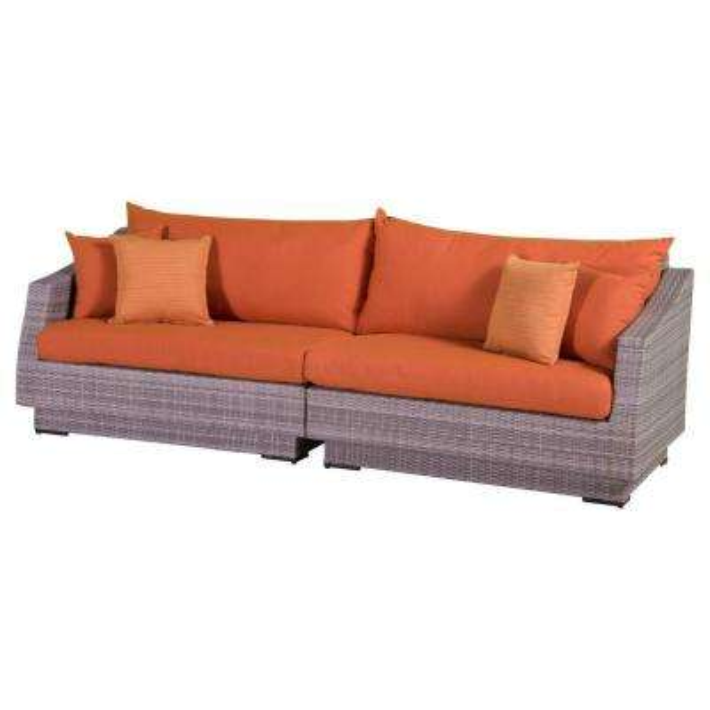 Cannes 2-Piece Patio Sofa with Tikka Orange Cushions