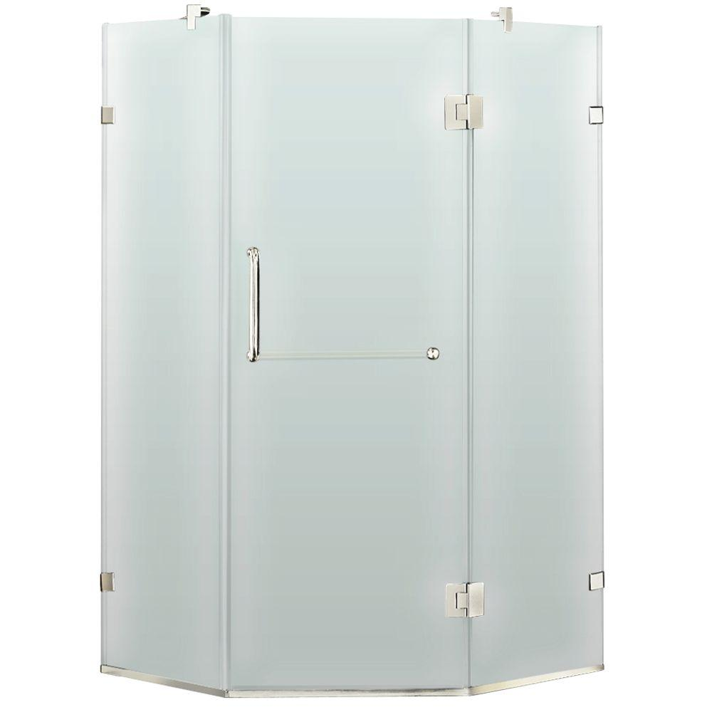 Vigo 34 in. x 73 in. Frameless Neo-Angle Shower Enclosure in Chrome with Frosted Glass