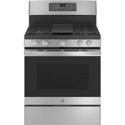 30 in. 5 cu. ft. Gas Range with Self-Cleaning Convection Oven in Stainless Steel