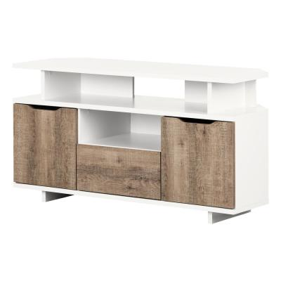 Reflekt 49 in. Pure White and Weathered Oak Particle Board TV Stand 55 in.
