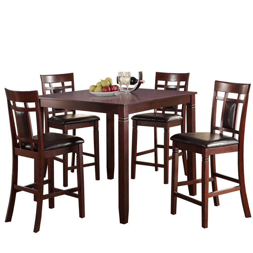 Benjara Swish 5 Piece Brown Cashew Wood Counter Height Dining Set Bm167134 The Home Depot