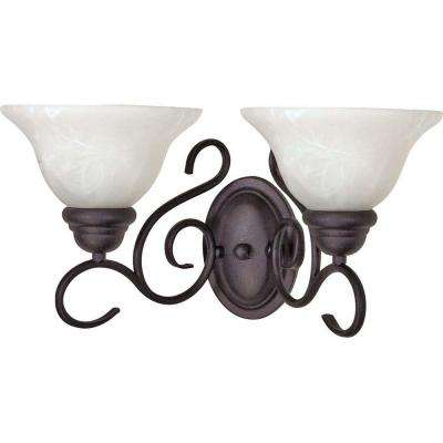 Adria 2 Light Textured Black Sconce With Alabaster Swirl Glass