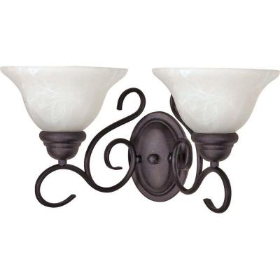 Adria 2-Light Textured Black Sconce with Alabaster Swirl Glass