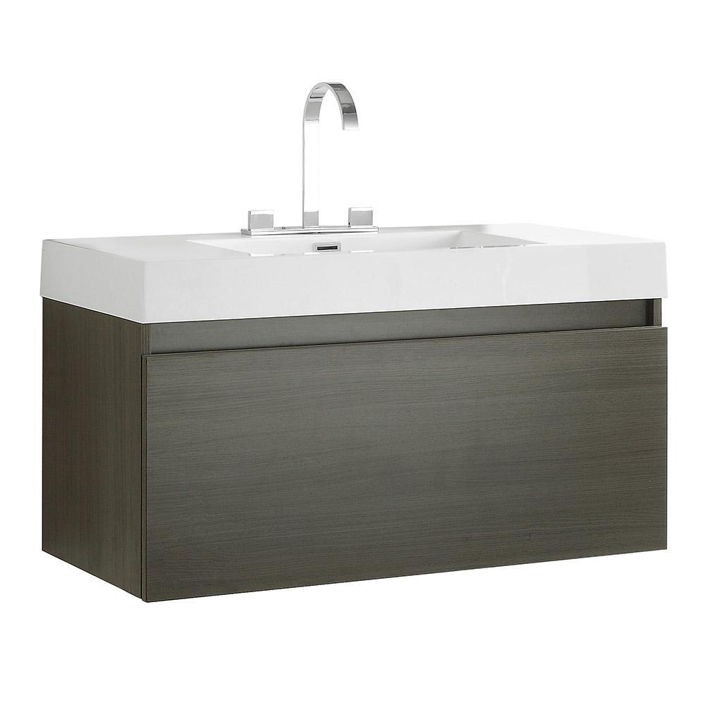 Mezzo 40 in. Bath Vanity in Gray Oak with Acrylic Vanity Top in White with White Basin