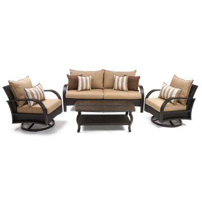 Barcelo 4-Piece Motion Wicker Patio Deep Seating Conversation Set with Sunbrella Maxim Beige Cushions