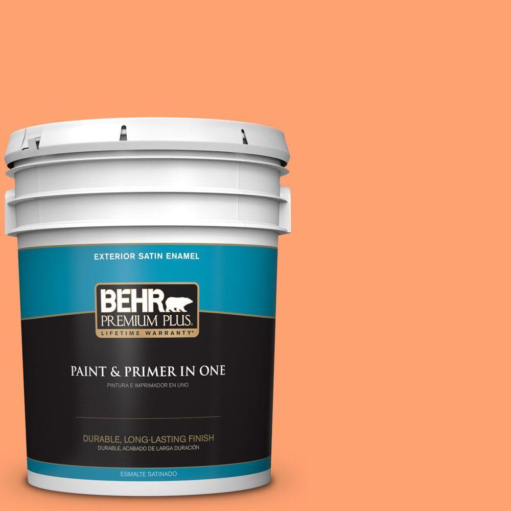 BEHR Premium Plus 5-gal. #P210-5 Cheerful Tangerine Satin Enamel Exterior Paint