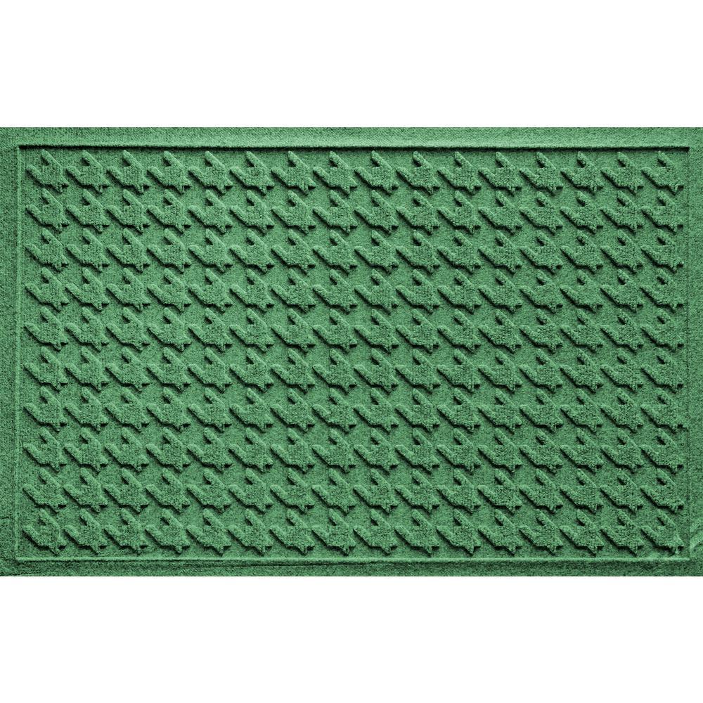 Houndstooth Light Green 24 in. x 36 in. Polypropylene Door Mat