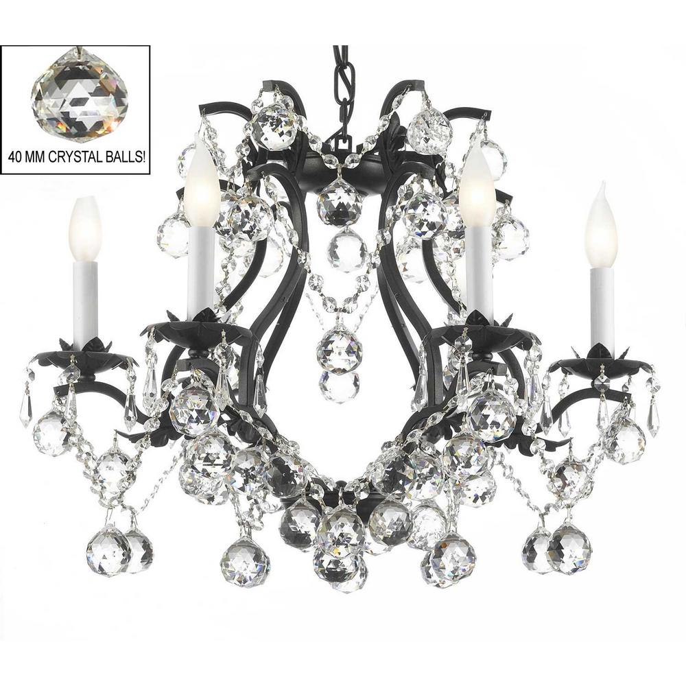 Versailles 6 Light Wrought Iron And Crystal Chandelier In Black With 40mm
