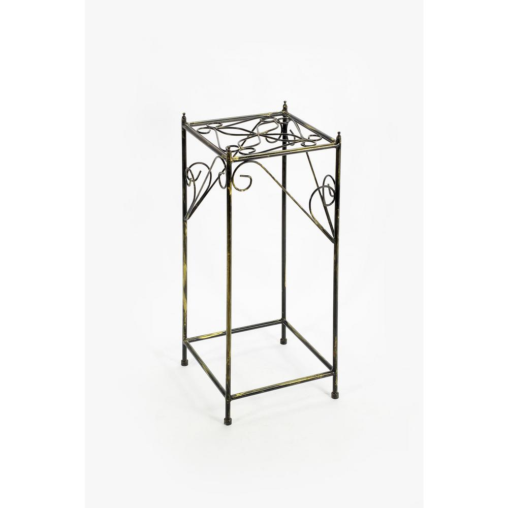 ORE International 28.54 in. Large Lattice Square Black/Gold Cast Metal Plant Stand