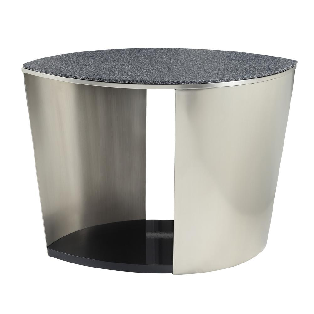Thyge Satin Plated and Glass Stone End Table
