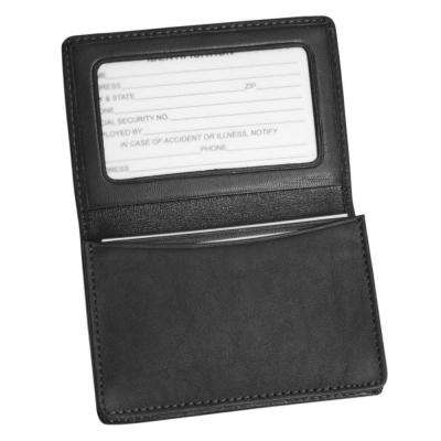Genuine Leather Business Card Case Wallet, Black