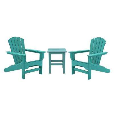 Boca Raton Aruba 3-Piece Recycled Plastic Patio Curveback Adirondack Chat Set