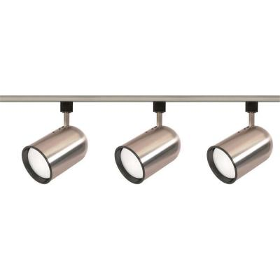 3-Light R30 Brushed Nickel Bullet Cylinder Track Lighting Kit
