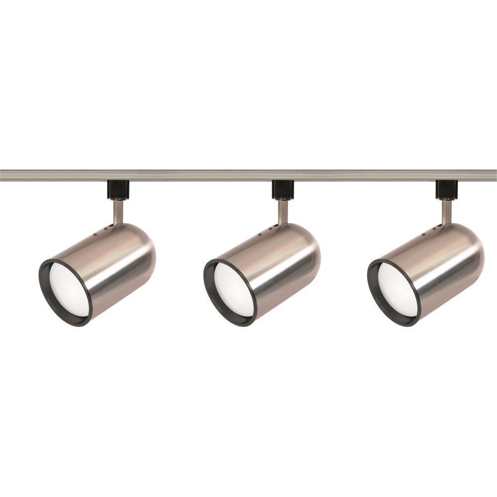3-Light R30 Brushed Nickel Bullet Cylinder Track Lighting Kit