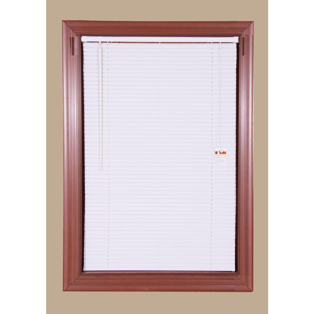 36 in W x 64 in White Cordless 1 in Vinyl Mini Blind L