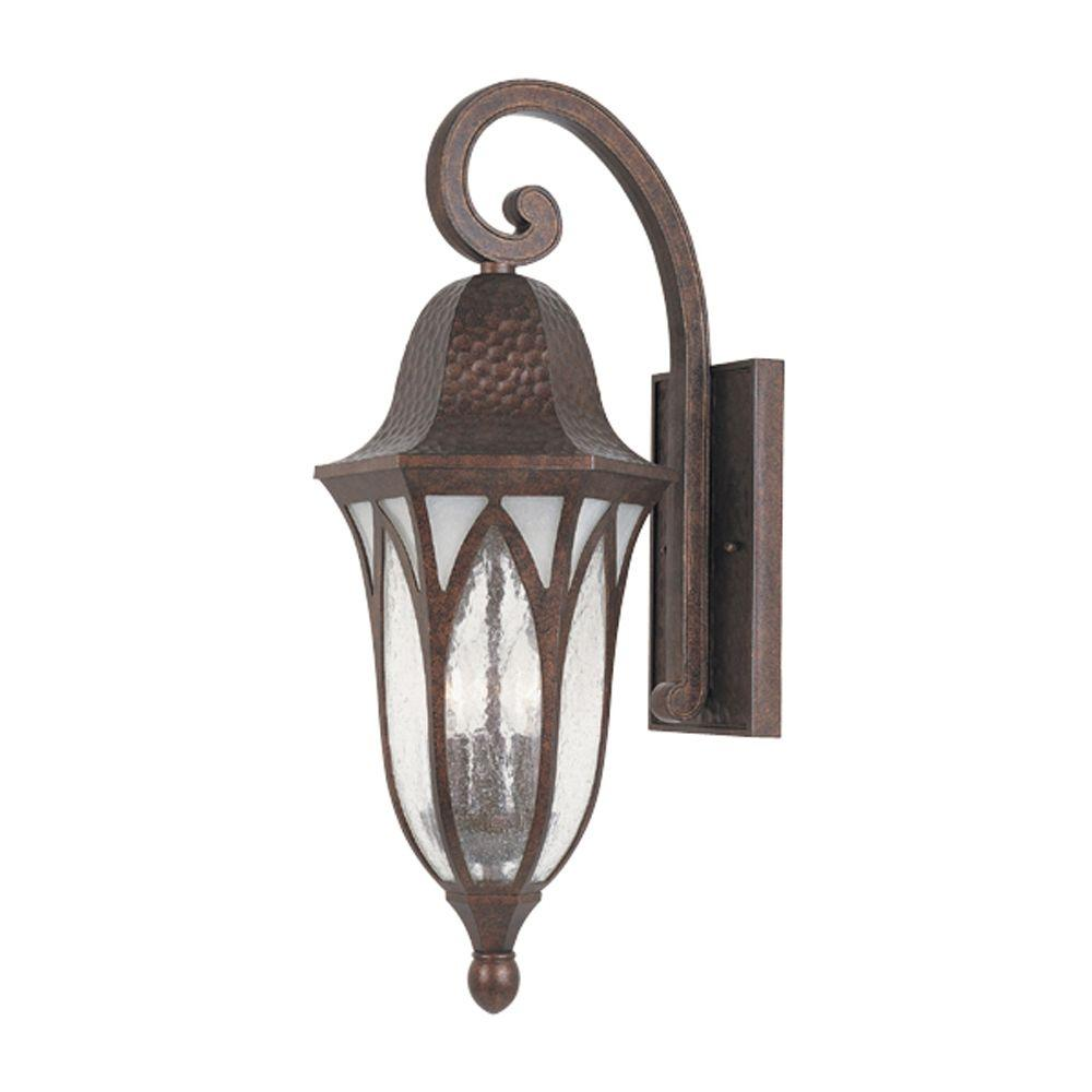 Designers Fountain Charleston 3 Light Burnished Antique Copper Outdoor Wall Mount  Lantern