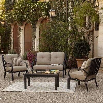 Norman 4-Piece Patio Conversation Set with Beige Cushions