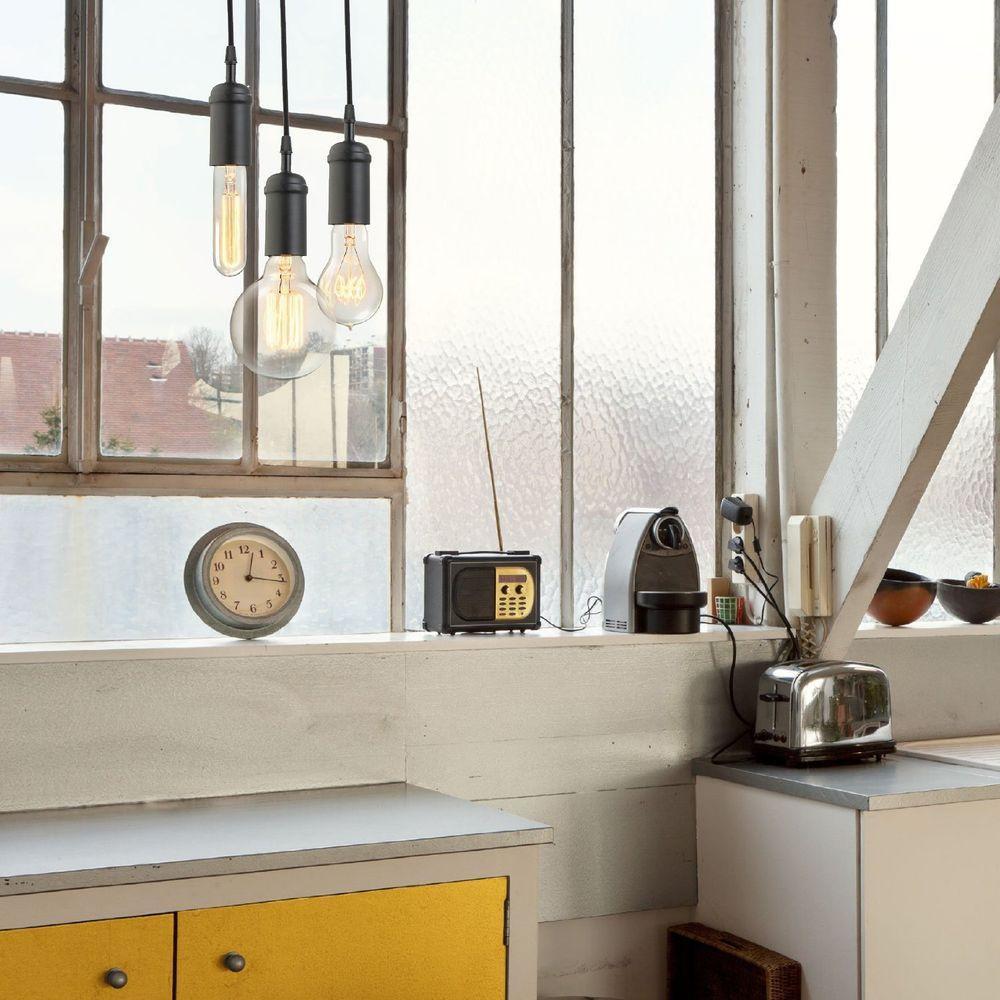 Globe Electric 1-Light Vintage Edison Matte Black Plug-In Mini Pendant