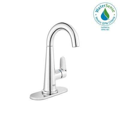 Veletto 4 in. Centerset Single-Handle Bathroom Faucet in Starlight Chrome