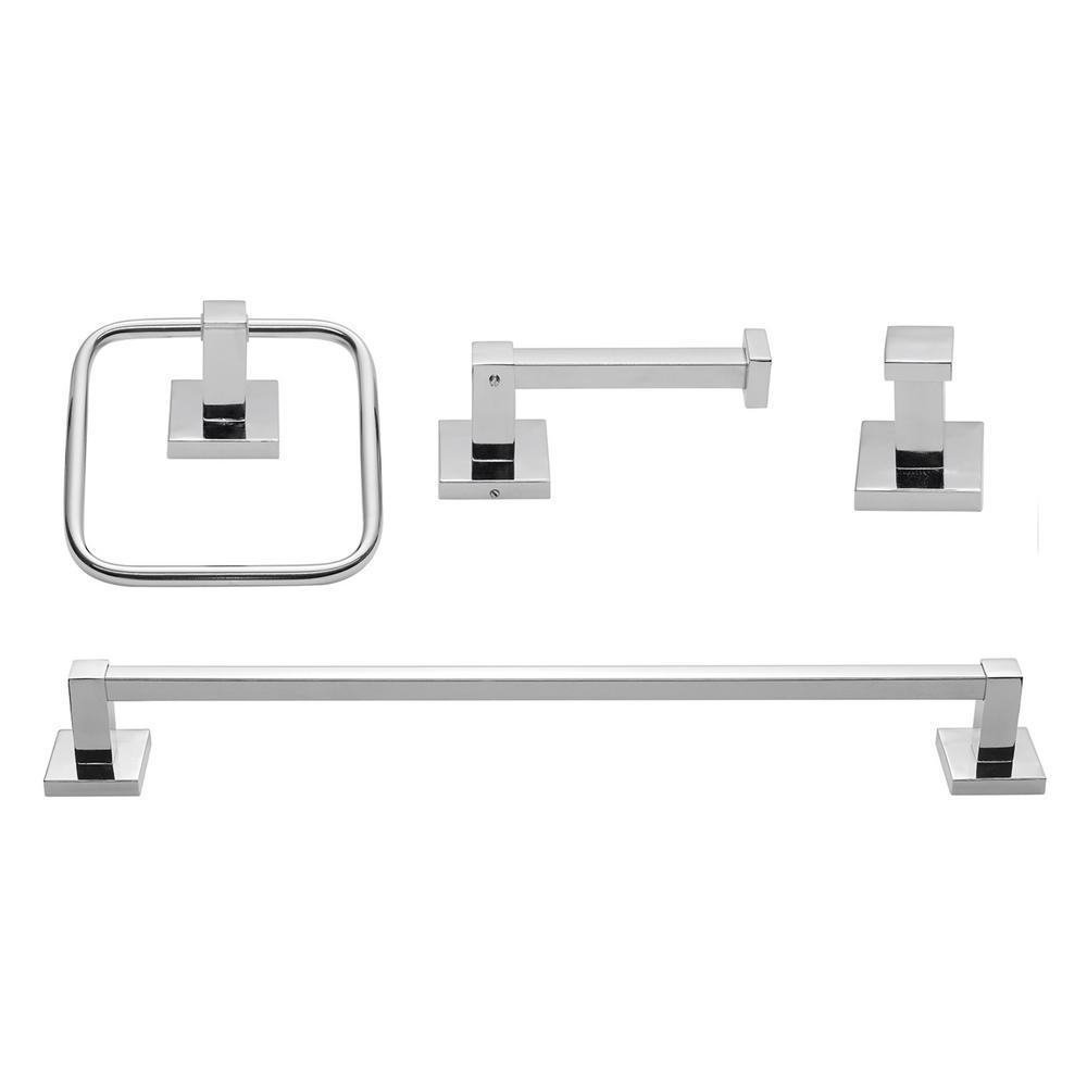 Finn 4-Piece Bathroom Hardware Accessory Kit in Chrome