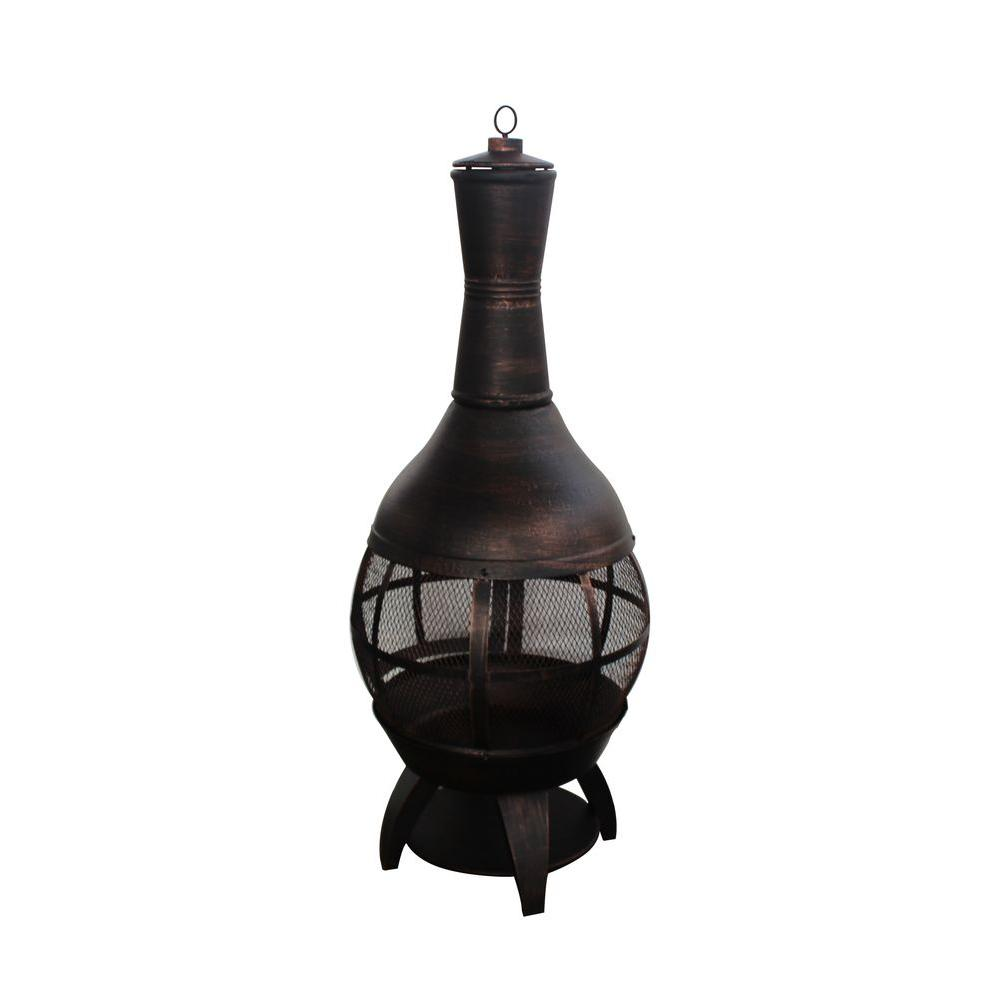 Add stylish touch to your outdoor living area with this Hampton Bay Outdoor Cast Iron Chimenea. Features durable construction.
