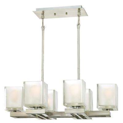 Nyle 6-Light Brushed Nickel Chandelier with Glazed Ice Block Glass Shades