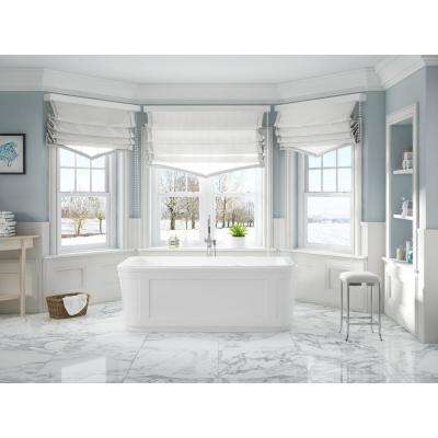 Kennedy 63 in. Acrylic Flatbottom Freestanding Bathtub in White