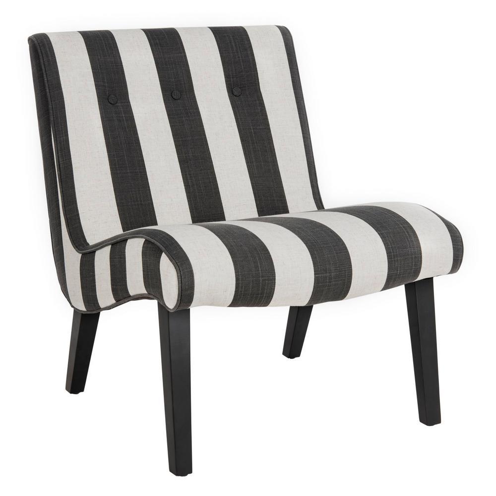 Superb Safavieh Black And White Polyester Accent Chair Mcr4552F Machost Co Dining Chair Design Ideas Machostcouk
