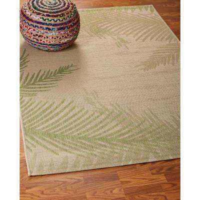 Captiva Beige / Soft Pea 5 ft. x 7 ft. Rectangle Indoor/Outdoor Area Rug