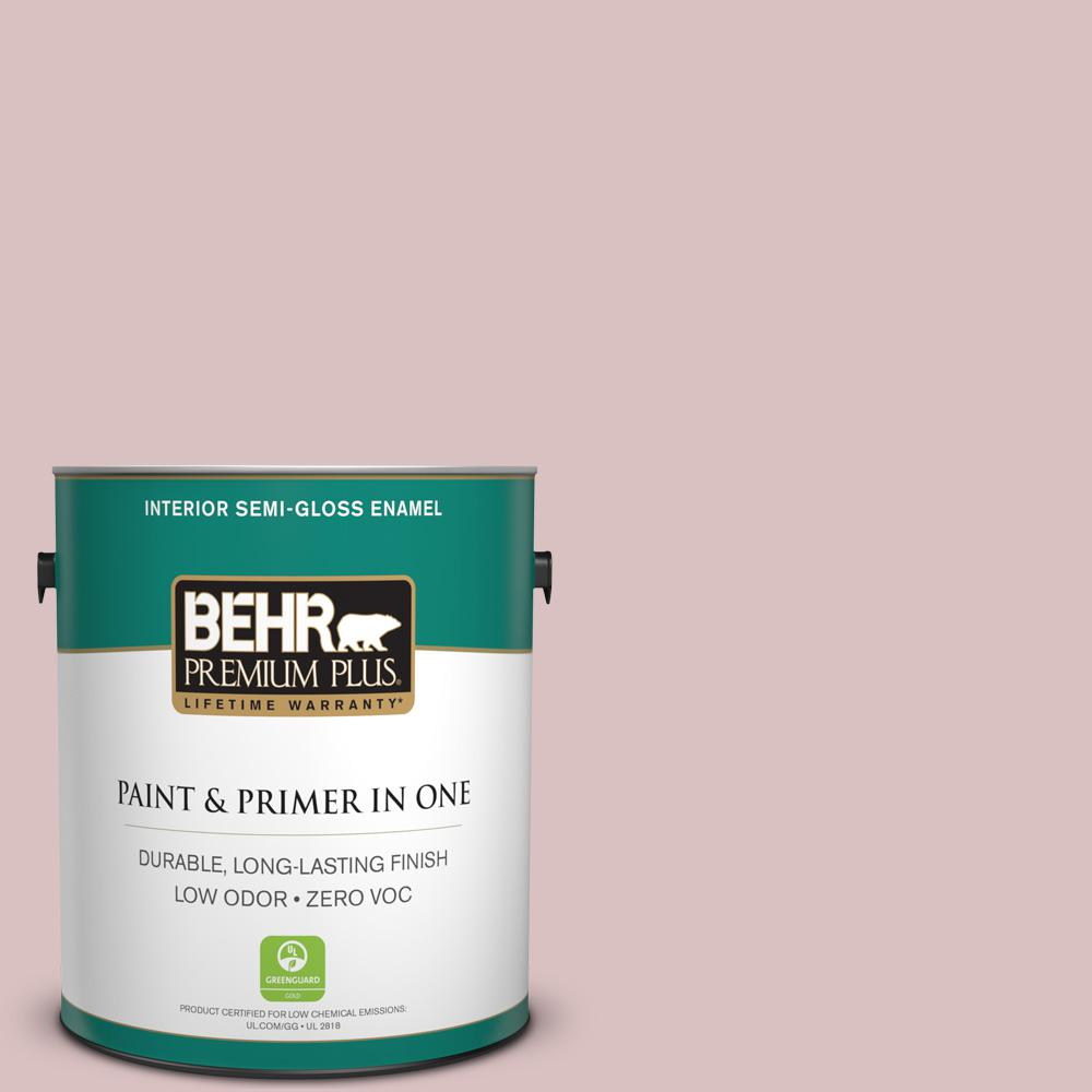 1 gal. #PPU17-08 Peony Blush Zero VOC Semi-Gloss Enamel Interior Paint