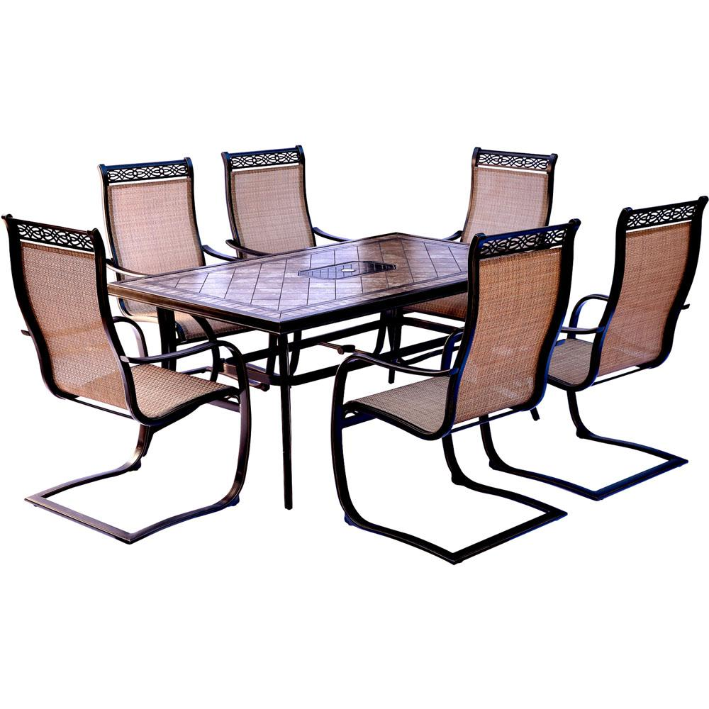 Hanover Monaco 7 Piece Aluminum Outdoor Dining Set With Rectangular Tile Top Table And Contoured Sling Spring Chairs