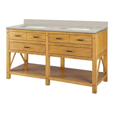 Avondale 61 in. W x 22 in. D Vanity in Weathered Pine with Engineered Marble Vanity Top in Sedona with White Sink