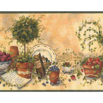 Beige Green Red Blue Berries Fruits Food Kitchen Extra Wide Prepasted Wallpaper Border